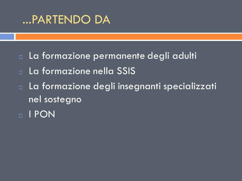 ...PARTENDO DA  La formazione permanente degli adulti  La formazione nella SSIS  La formazione degli insegnanti specializzati nel sostegno  I PON