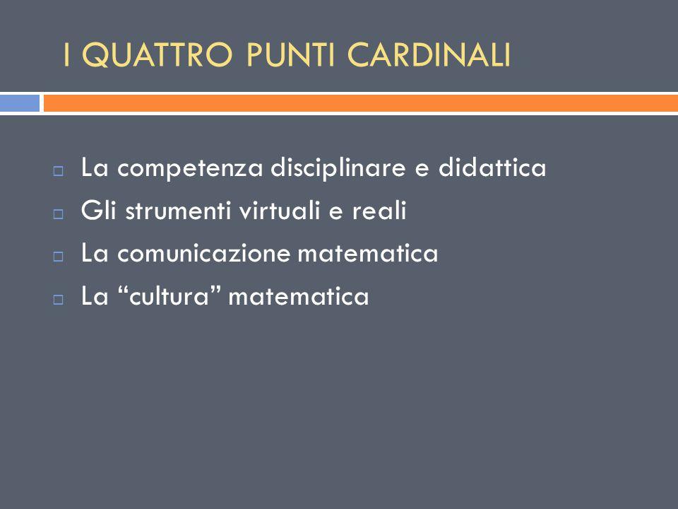 I QUATTRO PUNTI CARDINALI  La competenza disciplinare e didattica  Gli strumenti virtuali e reali  La comunicazione matematica  La cultura matematica