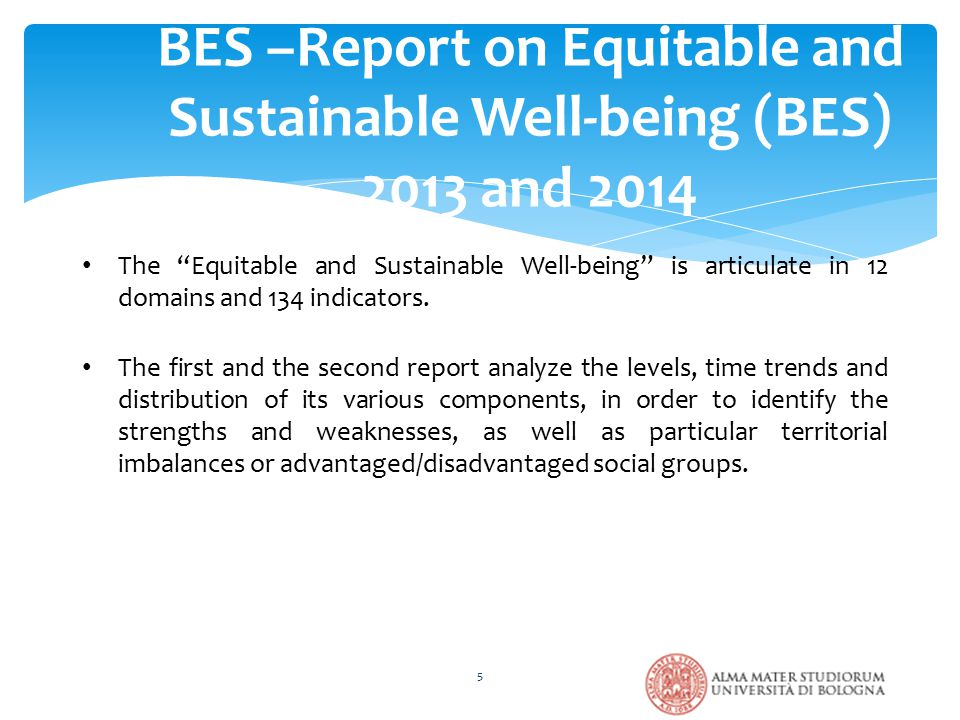 BES –Report on Equitable and Sustainable Well-being (BES) 2013 and 2014 5 The Equitable and Sustainable Well-being is articulate in 12 domains and 134 indicators.