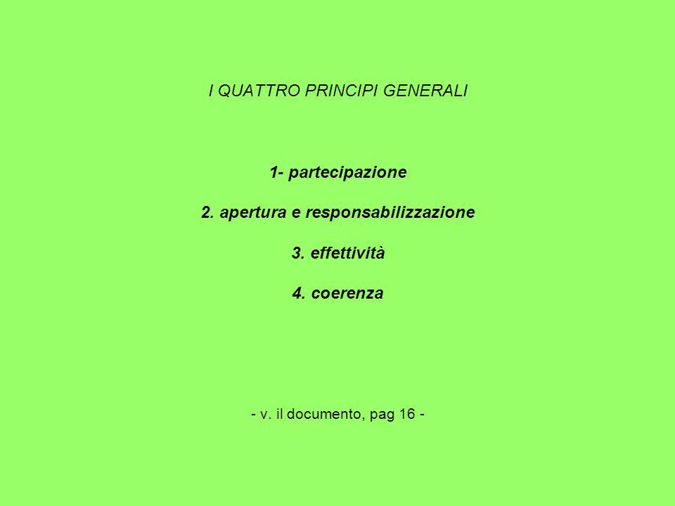 I QUATTRO PRINCIPI GENERALI 1- partecipazione 2. apertura e responsabilizzazione 3.