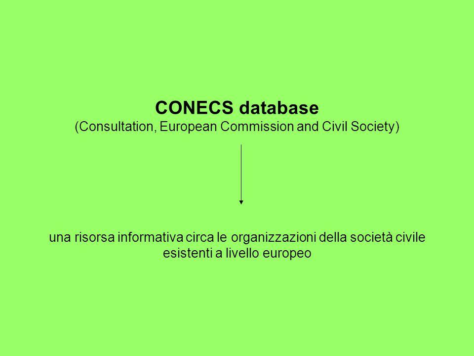 CONECS database (Consultation, European Commission and Civil Society) una risorsa informativa circa le organizzazioni della società civile esistenti a livello europeo