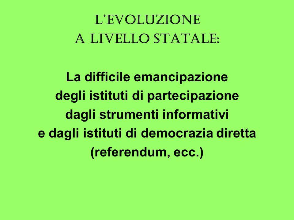 L'EVOLUZIONE A LIVELLO STATALE: La difficile emancipazione degli istituti di partecipazione dagli strumenti informativi e dagli istituti di democrazia diretta (referendum, ecc.)