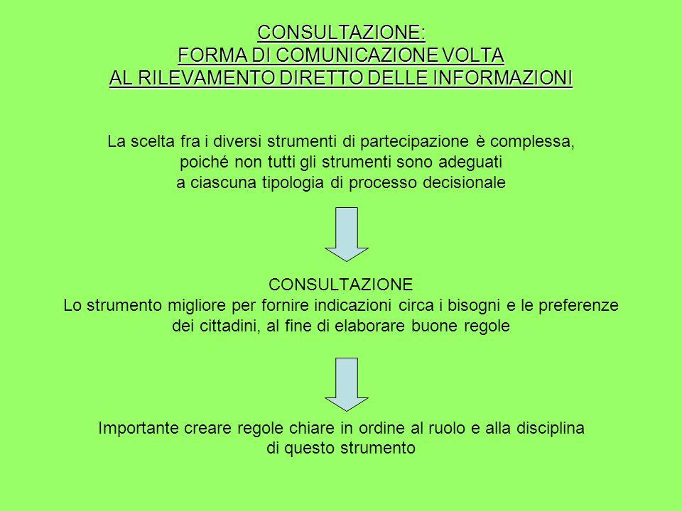 I CINQUE STANDARDS MINIMI 1.contenuti chiari sul processo di consultazione 2.
