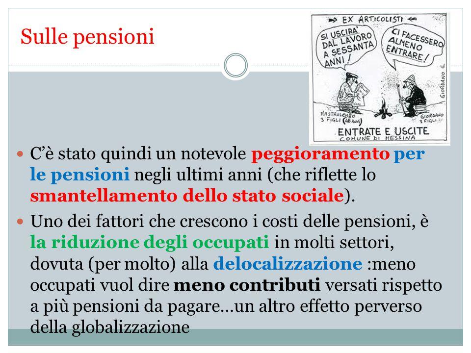 Sulle pensioni C'è stato quindi un notevole peggioramento per le pensioni negli ultimi anni (che riflette lo smantellamento dello stato sociale).
