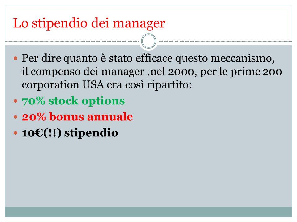 Lo stipendio dei manager Per dire quanto è stato efficace questo meccanismo, il compenso dei manager,nel 2000, per le prime 200 corporation USA era così ripartito: 70% stock options 20% bonus annuale 10€(!!) stipendio