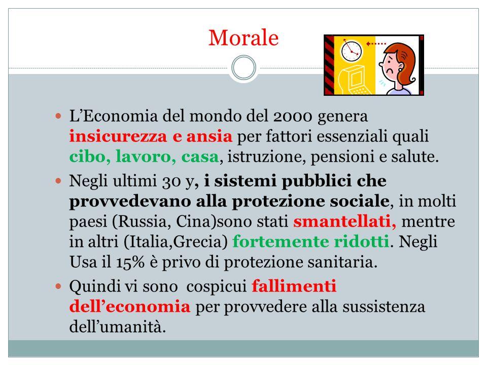 Morale L'Economia del mondo del 2000 genera insicurezza e ansia per fattori essenziali quali cibo, lavoro, casa, istruzione, pensioni e salute.