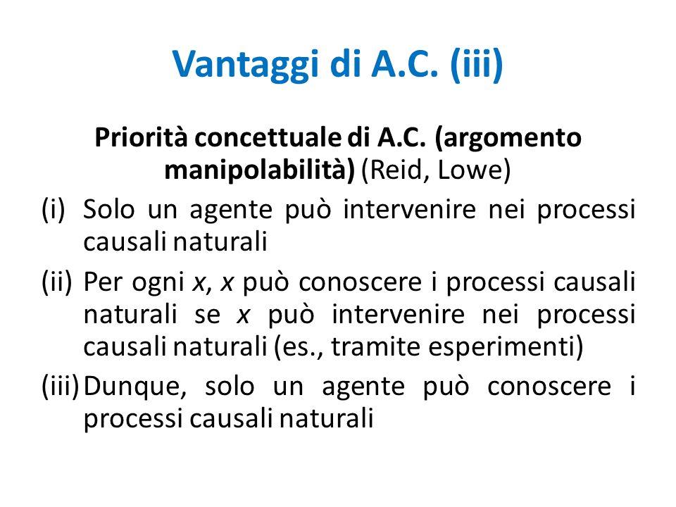 Vantaggi di A.C.(iii) Priorità concettuale di A.C.