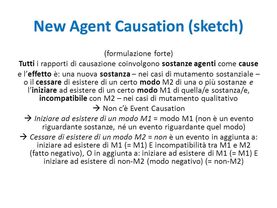 New Agent Causation (sketch) (formulazione forte) Tutti i rapporti di causazione coinvolgono sostanze agenti come cause e l'effetto è: una nuova sostanza – nei casi di mutamento sostanziale – o il cessare di esistere di un certo modo M2 di una o più sostanze e l'iniziare ad esistere di un certo modo M1 di quella/e sostanza/e, incompatibile con M2 – nei casi di mutamento qualitativo  Non c'è Event Causation  Iniziare ad esistere di un modo M1 = modo M1 (non è un evento riguardante sostanze, né un evento riguardante quel modo)  Cessare di esistere di un modo M2 = non è un evento in aggiunta a: iniziare ad esistere di M1 (= M1) E incompatibilità tra M1 e M2 (fatto negativo), O in aggiunta a: iniziare ad esistere di M1 (= M1) E iniziare ad esistere di non-M2 (modo negativo) (= non-M2)