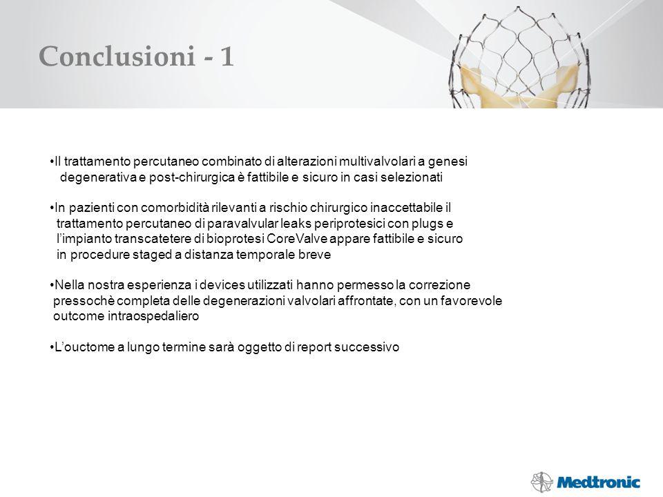 Conclusioni - 1 Il trattamento percutaneo combinato di alterazioni multivalvolari a genesi degenerativa e post-chirurgica è fattibile e sicuro in casi