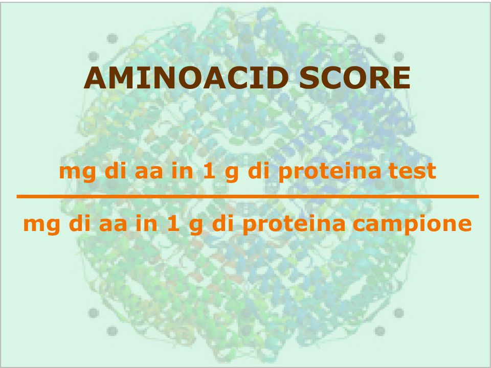 AMINOACID SCORE mg di aa in 1 g di proteina test mg di aa in 1 g di proteina campione