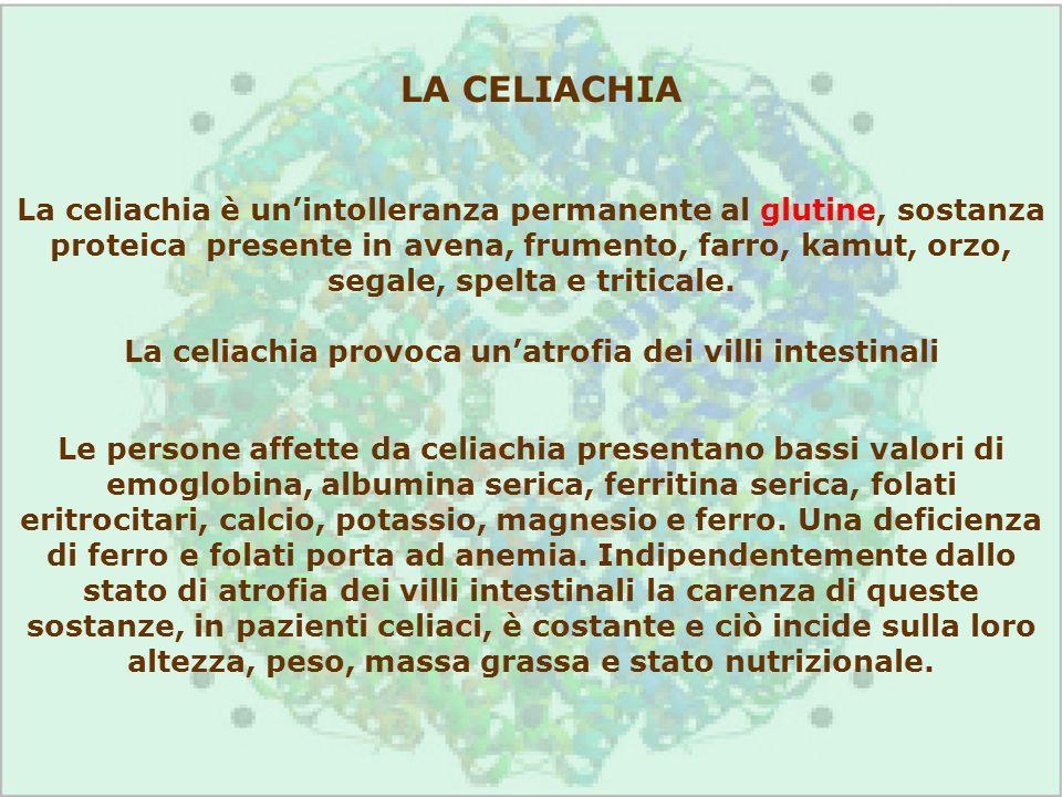 Le persone affette da celiachia presentano bassi valori di emoglobina, albumina serica, ferritina serica, folati eritrocitari, calcio, potassio, magne