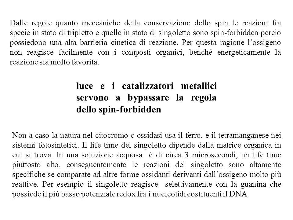 Dalle regole quanto meccaniche della conservazione dello spin le reazioni fra specie in stato di tripletto e quelle in stato di singoletto sono spin-f