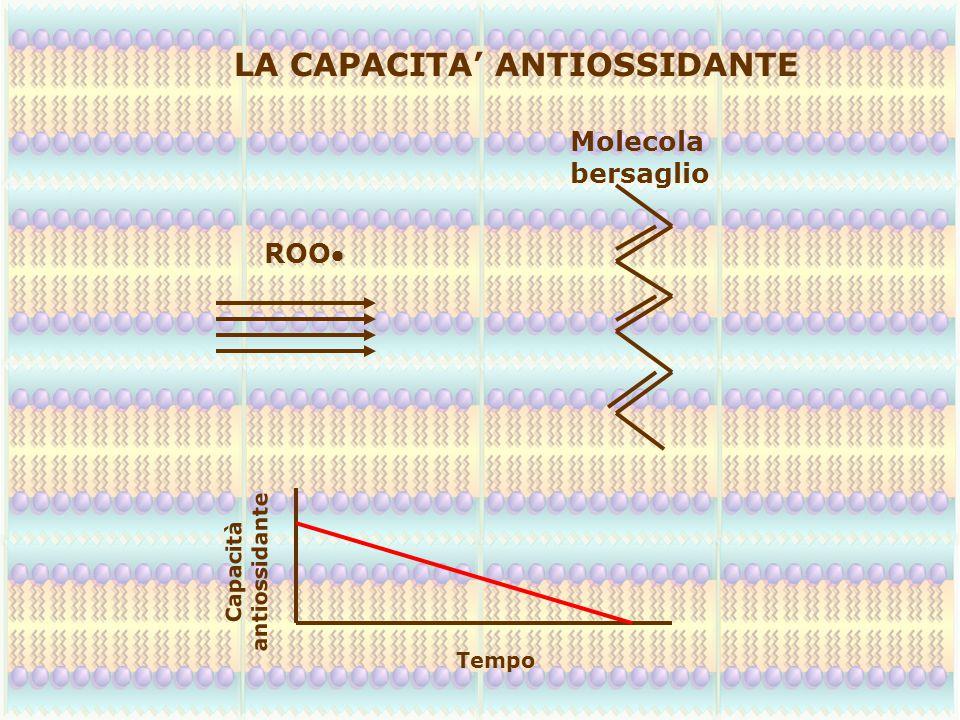 LA CAPACITA' ANTIOSSIDANTE ROO Molecola bersaglio Capacità antiossidante Tempo