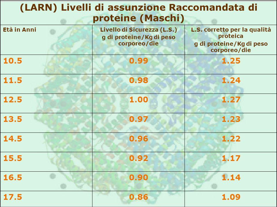 (LARN) Livelli di assunzione Raccomandata di proteine (Maschi) Età in AnniLivello di Sicurezza (L.S.) g di proteine/Kg di peso corporeo/die L.S. corre