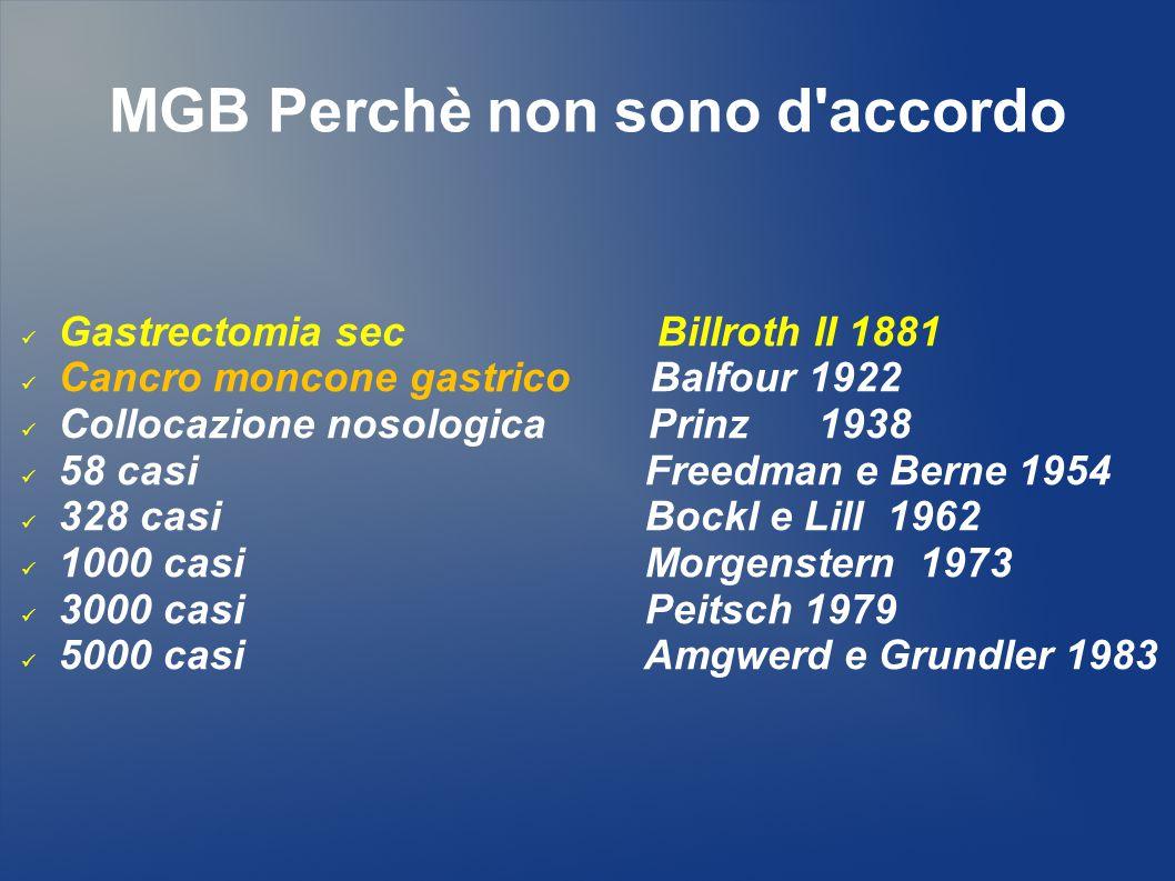 MGB Perchè non sono d accordo BILLROTH II Metaplasia intestinale 20 – 94 % Reflusso biliare  Ipocloridria  Ph ++  G.C.A + Proliferazione H.P.