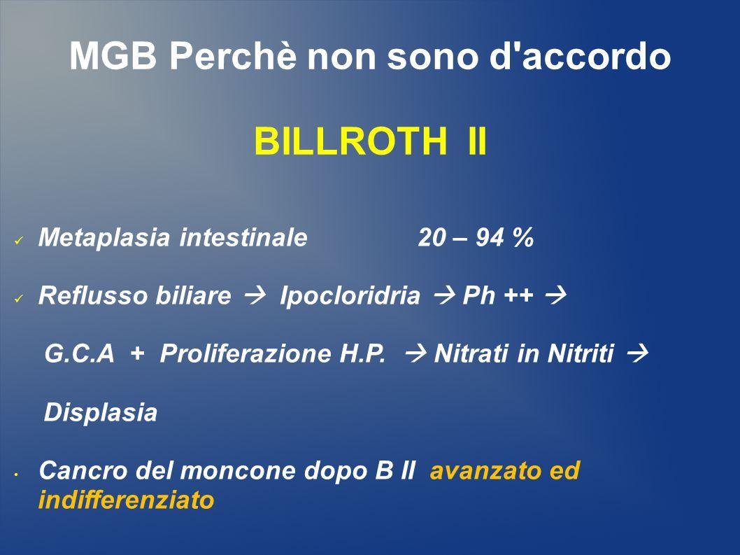 MGB Perchè non sono d accordo Incidenza cancro / moncone gastrico (15 aa) 2 –> 10 % Studio A.C.O.I.