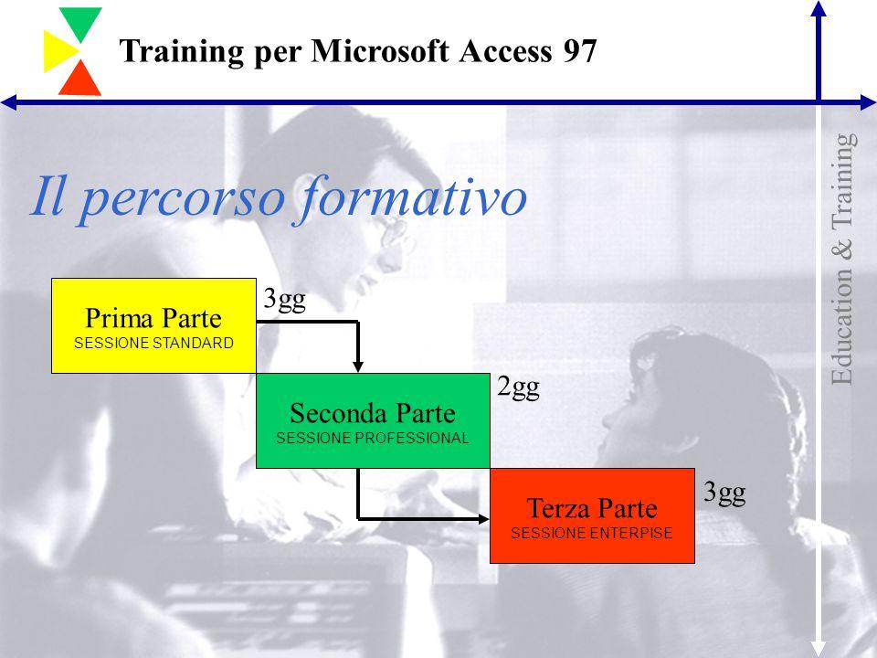 Education & Training Training per Microsoft Access 97 Il percorso formativo Terza Parte SESSIONE ENTERPISE Prima Parte SESSIONE STANDARD Seconda Parte SESSIONE PROFESSIONAL 3gg 2gg 3gg