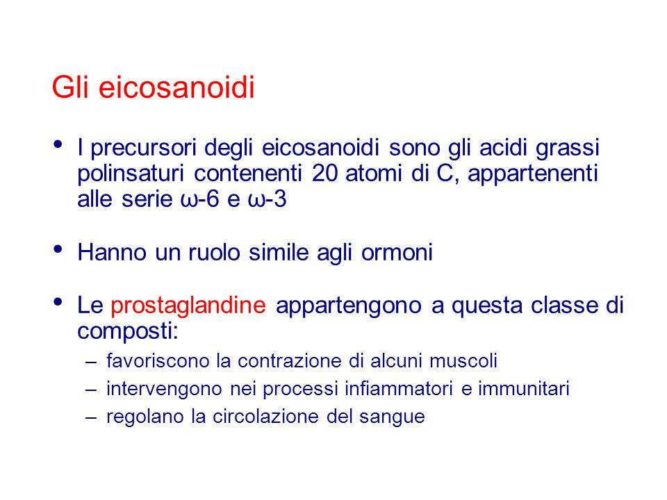 I precursori degli eicosanoidi sono gli acidi grassi polinsaturi contenenti 20 atomi di C, appartenenti alle serie ω-6 e ω-3 Hanno un ruolo simile agl