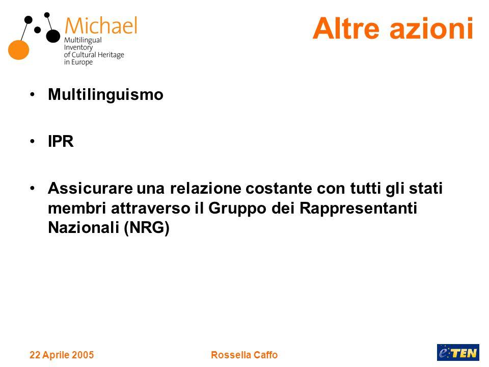 22 Aprile 2005Rossella Caffo Multilinguismo IPR Assicurare una relazione costante con tutti gli stati membri attraverso il Gruppo dei Rappresentanti Nazionali (NRG) Altre azioni