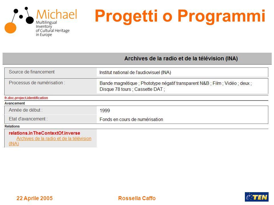 22 Aprile 2005Rossella Caffo Progetti o Programmi