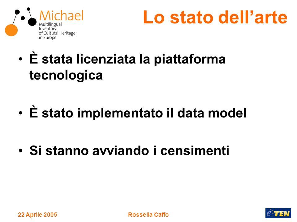 22 Aprile 2005Rossella Caffo È stata licenziata la piattaforma tecnologica È stato implementato il data model Si stanno avviando i censimenti Lo stato