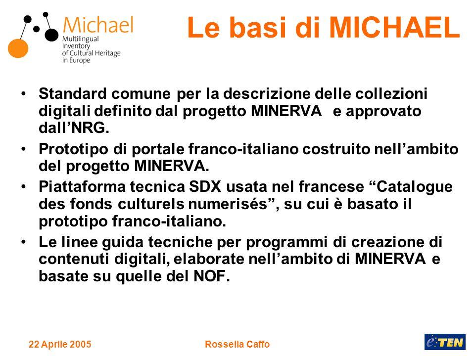 22 Aprile 2005Rossella Caffo Standard comune per la descrizione delle collezioni digitali definito dal progetto MINERVA e approvato dall'NRG.