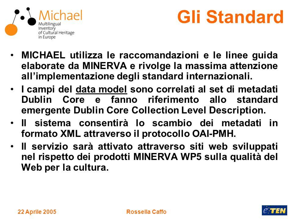 22 Aprile 2005Rossella Caffo MICHAEL utilizza le raccomandazioni e le linee guida elaborate da MINERVA e rivolge la massima attenzione all'implementazione degli standard internazionali.
