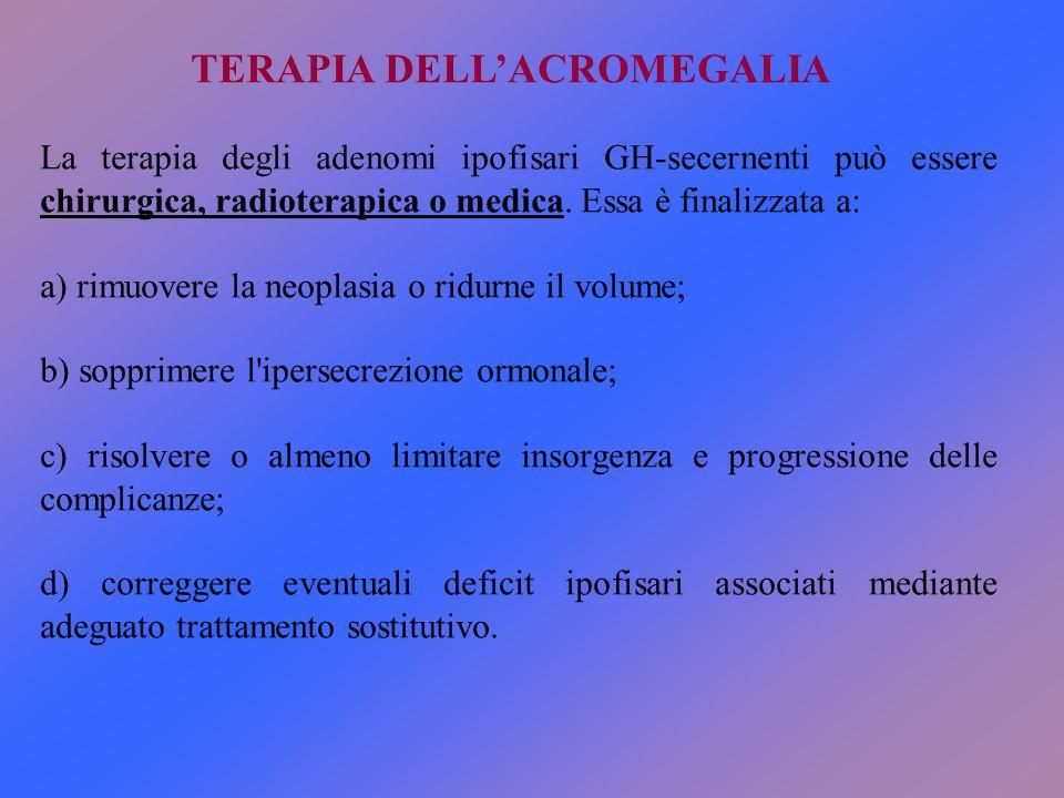 La terapia degli adenomi ipofisari GH-secernenti può essere chirurgica, radioterapica o medica. Essa è finalizzata a: a) rimuovere la neoplasia o ridu