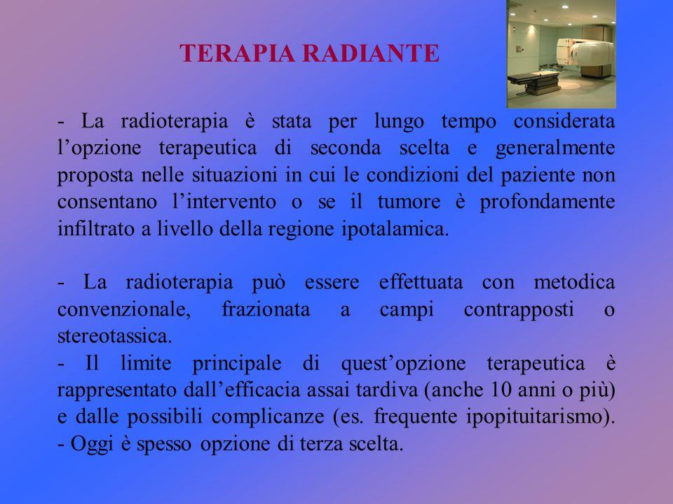 TERAPIA RADIANTE - La radioterapia è stata per lungo tempo considerata l'opzione terapeutica di seconda scelta e generalmente proposta nelle situazion