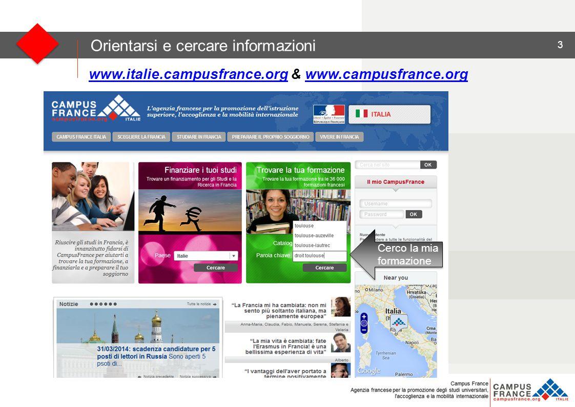 3 Orientarsi e cercare informazioni www.italie.campusfrance.orgwww.italie.campusfrance.org & www.campusfrance.orgwww.campusfrance.org Cerco la mia formazione