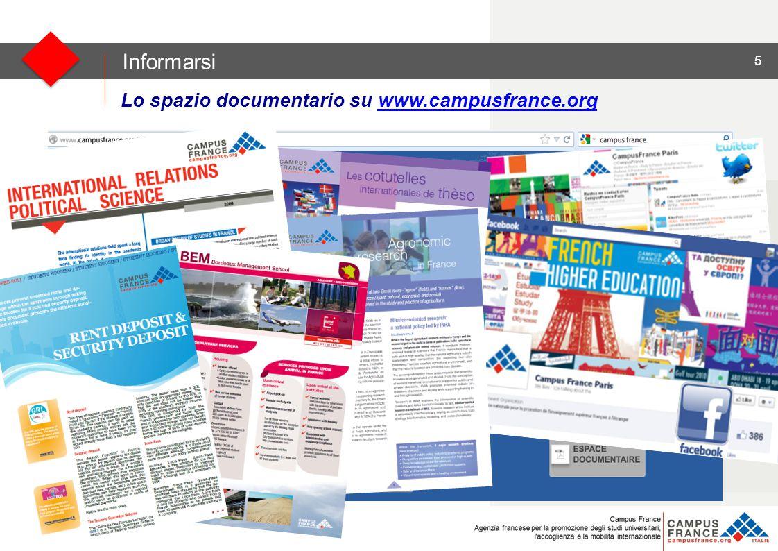 5 Clicco su « Espace Documentaire » Clicco su « Espace Documentaire » Informarsi Lo spazio documentario su www.campusfrance.orgwww.campusfrance.org