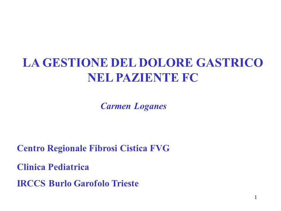1 LA GESTIONE DEL DOLORE GASTRICO NEL PAZIENTE FC Carmen Loganes Centro Regionale Fibrosi Cistica FVG Clinica Pediatrica IRCCS Burlo Garofolo Trieste