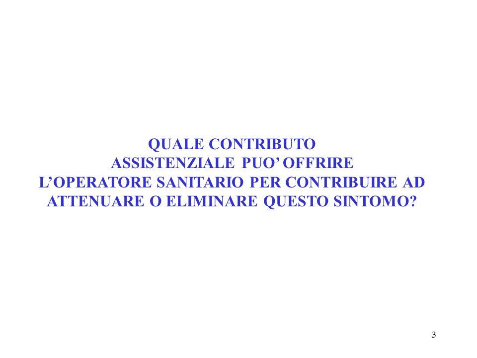 3 QUALE CONTRIBUTO ASSISTENZIALE PUO' OFFRIRE L'OPERATORE SANITARIO PER CONTRIBUIRE AD ATTENUARE O ELIMINARE QUESTO SINTOMO?