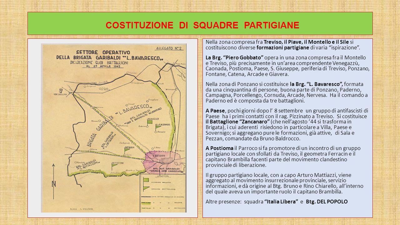 COSTITUZIONE DI SQUADRE PARTIGIANE Nella zona compresa fra Treviso, il Piave, il Montello e il Sile si costituiscono diverse formazioni partigiane di varia ispirazione .