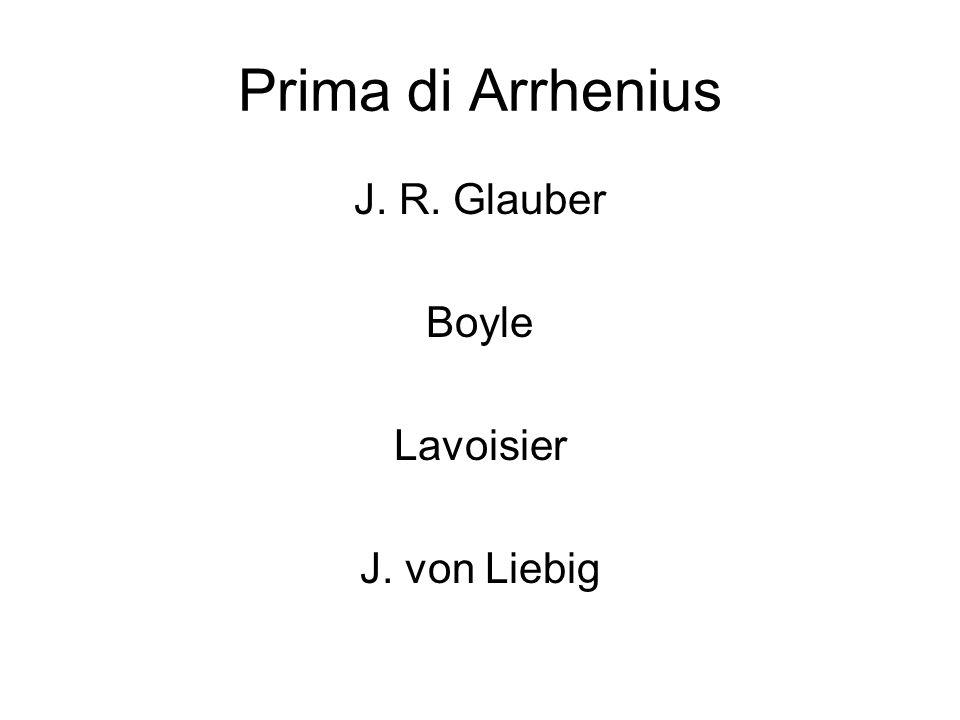 Prima di Arrhenius J. R. Glauber Boyle Lavoisier J. von Liebig