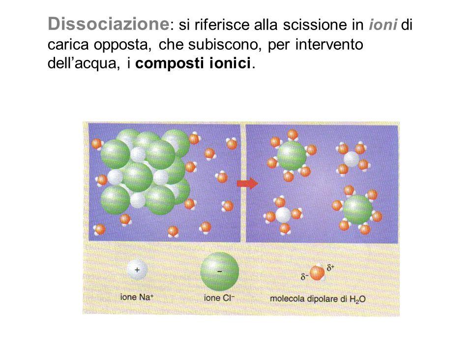 Dissociazione : si riferisce alla scissione in ioni di carica opposta, che subiscono, per intervento dell'acqua, i composti ionici.