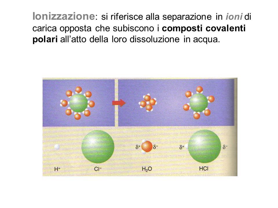 Ionizzazione : si riferisce alla separazione in ioni di carica opposta che subiscono i composti covalenti polari all'atto della loro dissoluzione in a