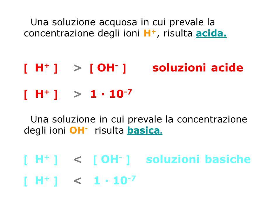 Una soluzione acquosa in cui prevale la concentrazione degli ioni H +, risulta acida.acida. [ H + ] > [ OH - ] soluzioni acide [ H + ] > 1 · 10 -7 Una