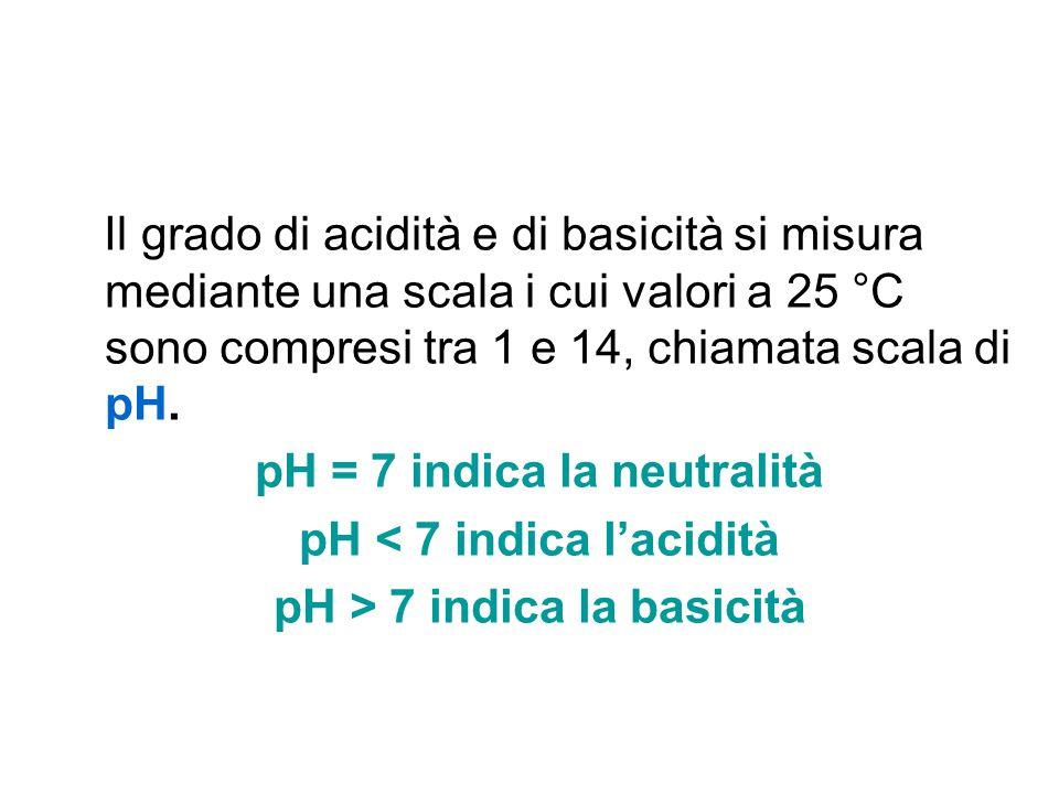 Il grado di acidità e di basicità si misura mediante una scala i cui valori a 25 °C sono compresi tra 1 e 14, chiamata scala di pH. pH = 7 indica la n