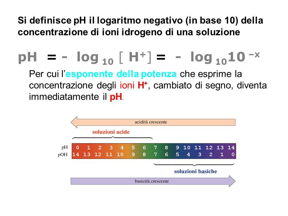 Si definisce pH il logaritmo negativo (in base 10) della concentrazione di ioni idrogeno di una soluzione pH = - log 10 [ H + ] = - log 10 10 –x Per c