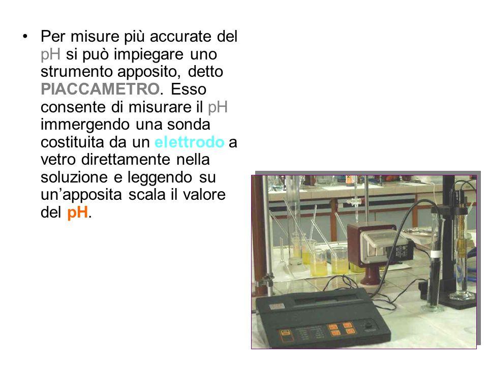 Per misure più accurate del pH si può impiegare uno strumento apposito, detto PIACCAMETRO. Esso consente di misurare il pH immergendo una sonda costit