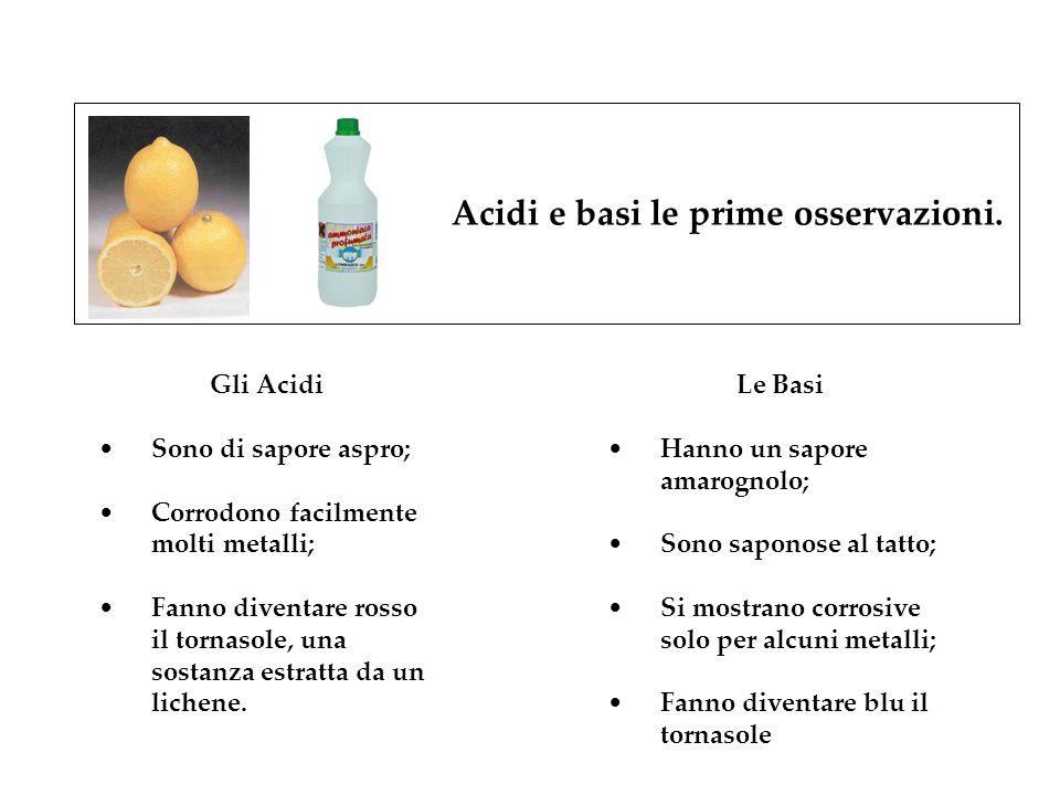 Acidi e basi le prime osservazioni. Gli Acidi Sono di sapore aspro; Corrodono facilmente molti metalli; Fanno diventare rosso il tornasole, una sostan