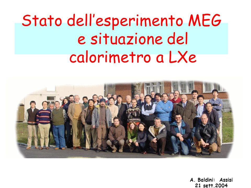 A. Baldini: Assisi 21 sett.2004 Stato dell'esperimento MEG e situazione del calorimetro a LXe