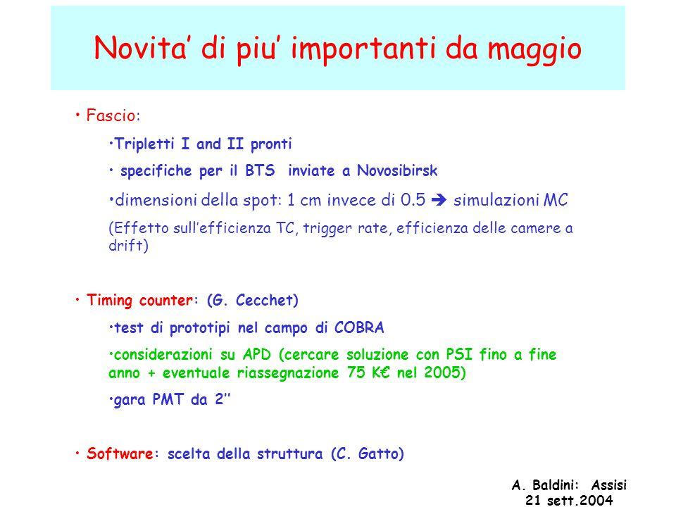 A. Baldini: Assisi 21 sett.2004 Novita' di piu' importanti da maggio Fascio: Tripletti I and II pronti specifiche per il BTS inviate a Novosibirsk dim