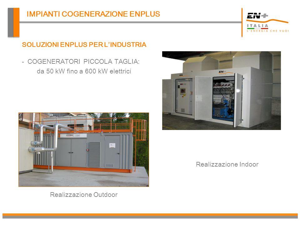 IMPIANTI COGENERAZIONE ENPLUS Soluzioni ENPLUS: soluzione di media taglia IMPIANTO TRIGENERAZIONE DA 637 kWe CON ASSORBITORE DA 570 kWf