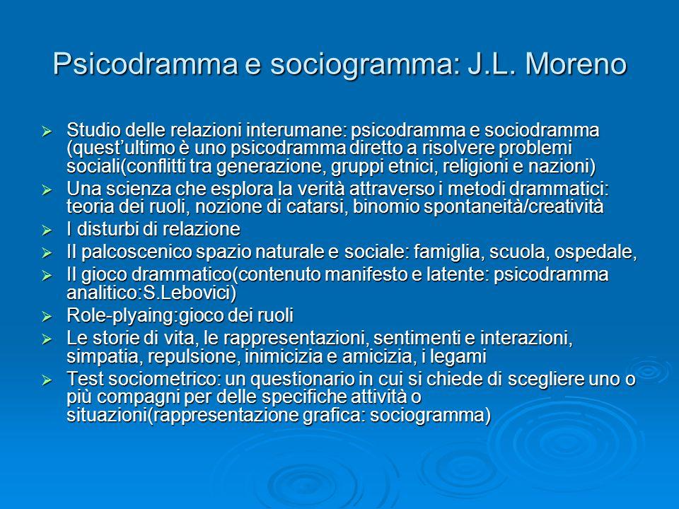 Psicodramma e sociogramma: J.L.