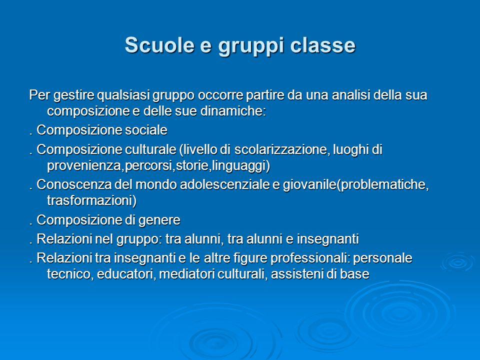 Scuole e gruppi classe Per gestire qualsiasi gruppo occorre partire da una analisi della sua composizione e delle sue dinamiche:.