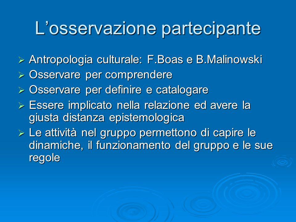 L'osservazione partecipante  Antropologia culturale: F.Boas e B.Malinowski  Osservare per comprendere  Osservare per definire e catalogare  Essere implicato nella relazione ed avere la giusta distanza epistemologica  Le attività nel gruppo permettono di capire le dinamiche, il funzionamento del gruppo e le sue regole