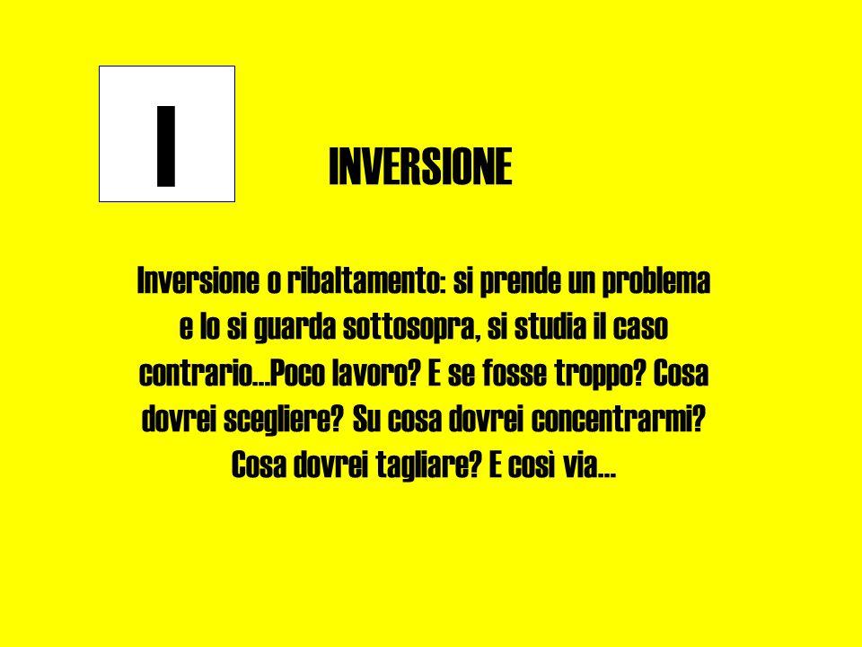 I INVERSIONE Inversione o ribaltamento: si prende un problema e lo si guarda sottosopra, si studia il caso contrario…Poco lavoro? E se fosse troppo? C