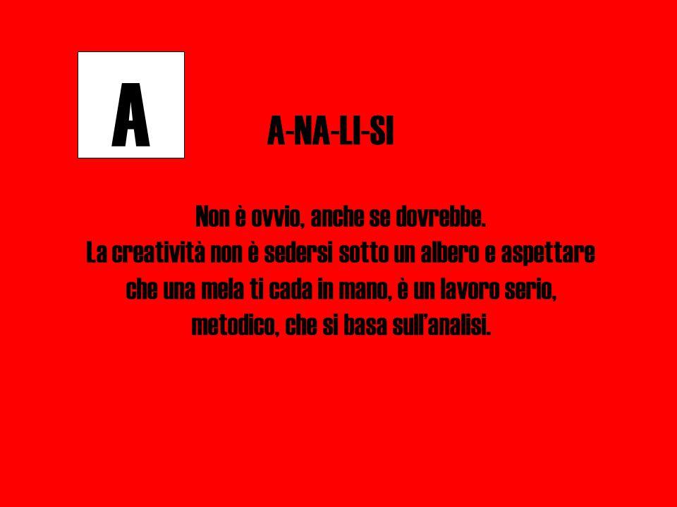 A A-NA-LI-SI Non è ovvio, anche se dovrebbe.